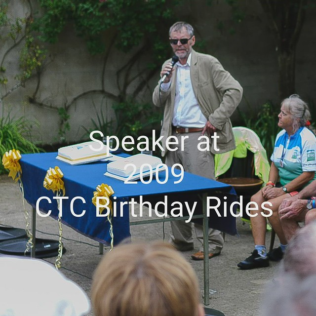 Addressing Members at CTC Birthday Rides, at Deene Hall, Northamptonshire, England [morphing image]