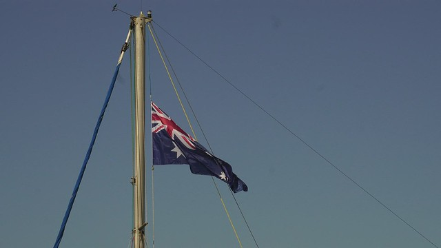 Australian Flag flies high over Newport Marina
