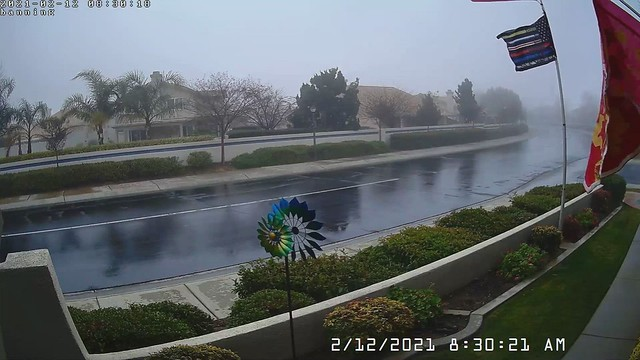 Time lapse walkway cam. From fog and drizzle, to Hail, to sunshine in 2 hours