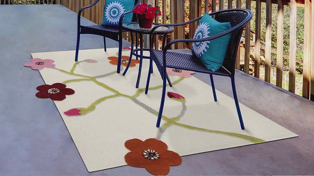 Contemporary Floral Hand-Tufted Blanc Messina White Multi Area Rug Carpet