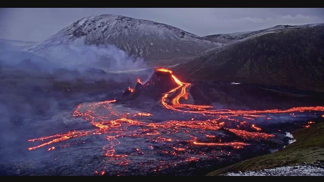 Basaltic lava flow eruption (early morning, 22 March 2021) (Geldingadalur Valley, Iceland) 3