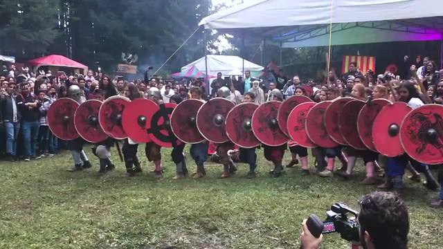 Shieldwall 'muro' de escudos vikingo. Ormbitur en Viking Fest 2019 de Mundo Medieval