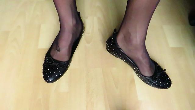 Castaluna ballet flats and stockings - shoeplay