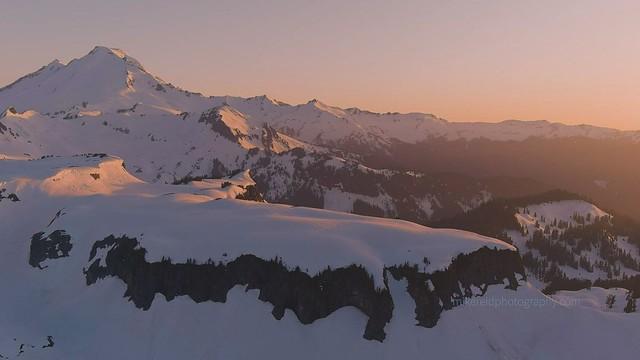Mount Baker Table Mountain Sunset Light Drone Video