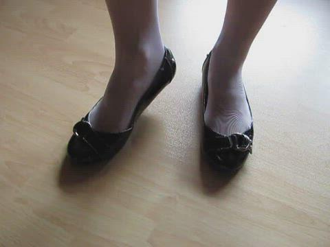 black patent sabrinas and white nylons