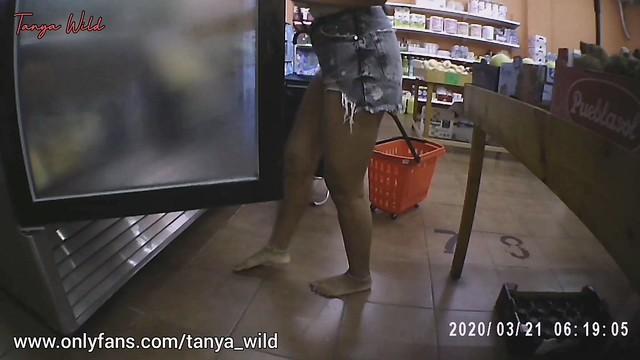 Tanya shopping barefoot