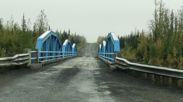 On the Dempster Highwy, crossing the Klondile River