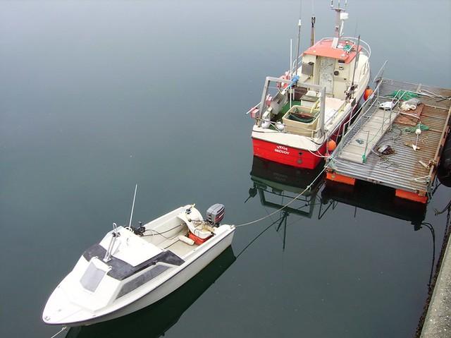 Boats in Sandoy harbour