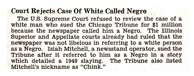 Supreme Court Rejects Case of White Man Suing Chicago Tribune for Calling Him A Negro - Jet Magazine February 14, 1952