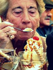 Old Lady enjoying her huge ice cream