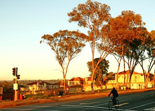 street sunrise southafrica cyclist suburban lastday johannesburg sandton gauteng jozi joburgdawn