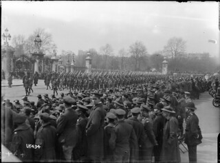 Australian troops marching past Buckingham Palace, London, 1919