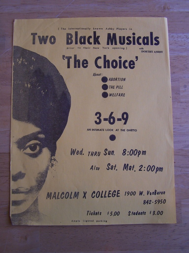 """Dorothy Ashby - """"The Ashby Players"""" - 1960s 8 1/2"""" by 11"""" Touring Flyer for two 1960s African-American theatrical plays """"The Choice"""" and """"3-6-9"""" produced by John and Dorothy Ashby"""