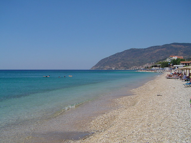 Agios Isidoros beach near Plomari Lesvos island, Greece 2008