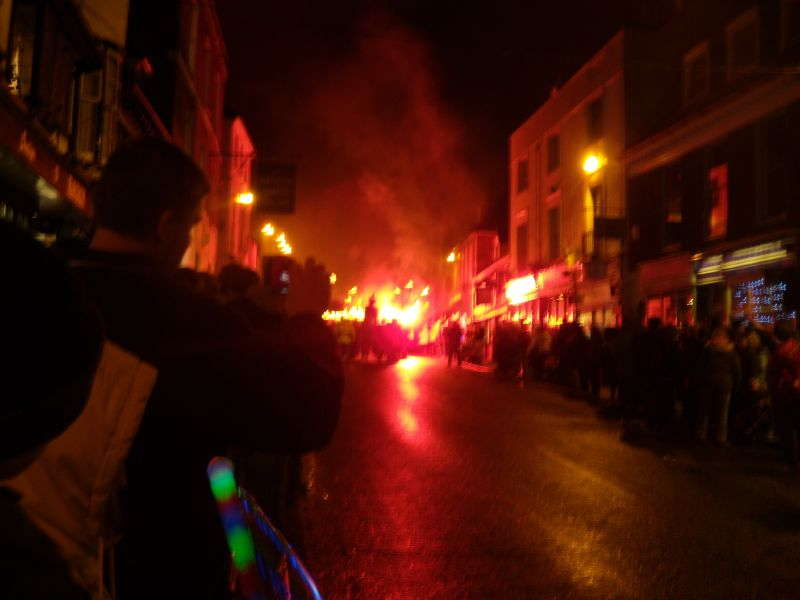 """The procession approaches The walk was timed to coincide with the """"Battel Bonfire Boyes"""" festivities. Robertsbridge to Battle"""