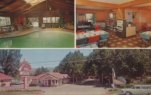 california vintage postcard motel 101 aaa us101 ukiah arrowsign indoorpool cigarettemachine poolview restaurantview triview