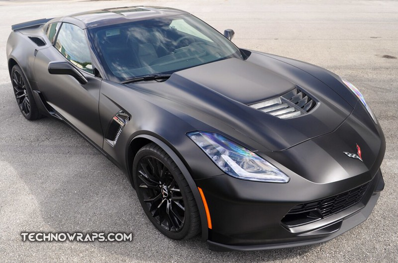 Black Satin vinyl wrap on Chevy Corvette