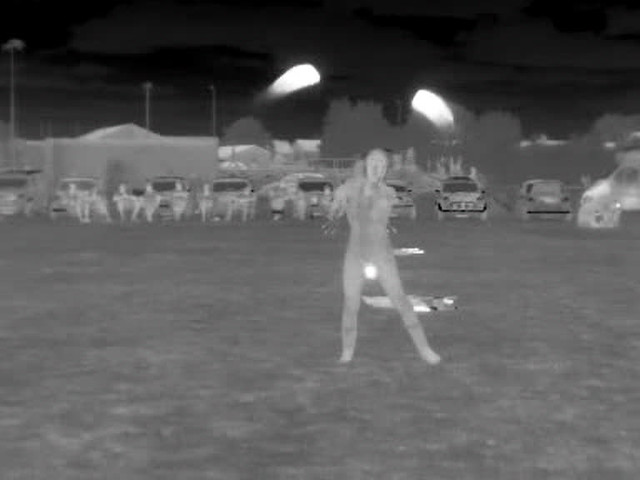 Girls playing with fire - thermal video