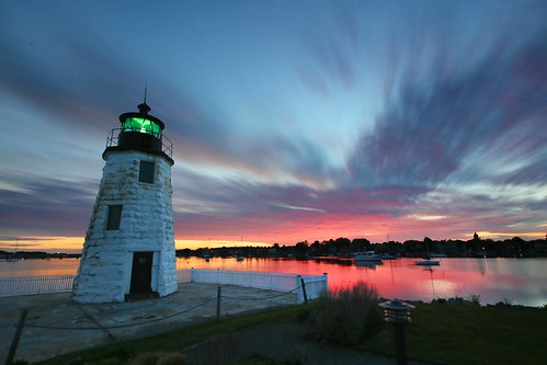 new longexposure sunset red sky lighthouse reflection water clouds sunrise landscape dawn countryside twilight bright rhodeisland newport redsky goatisland