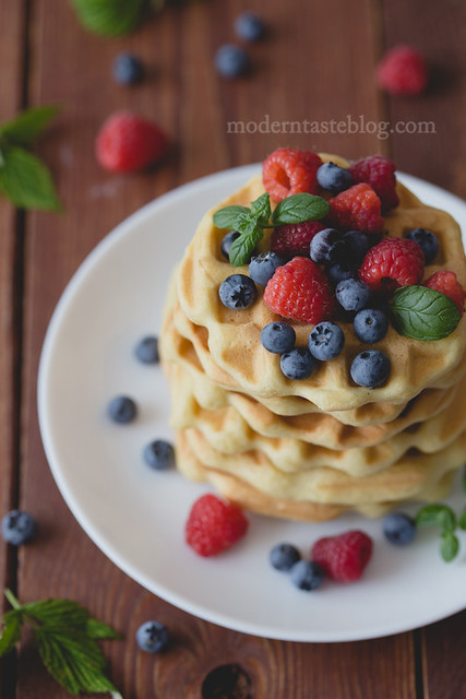 waffles with summer berry fruits