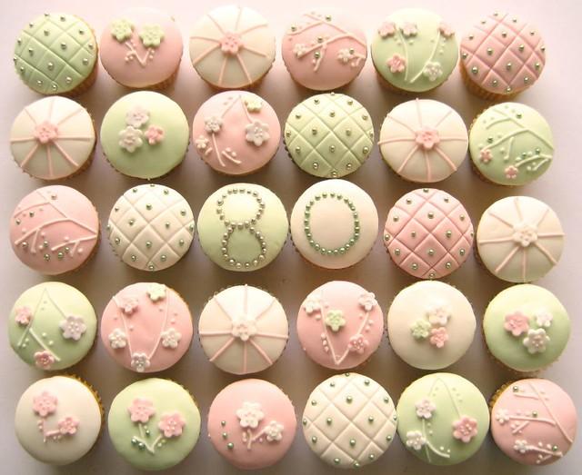 80th Birthday Cherry Blossom Cupcakes
