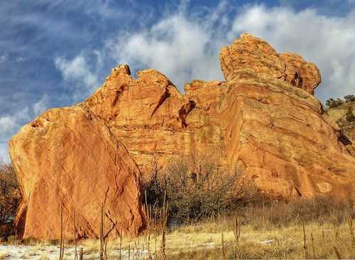 red sky snow clouds colorado rocks glow afternoon open space brush cliffs grasses dried hdr picassa hogback
