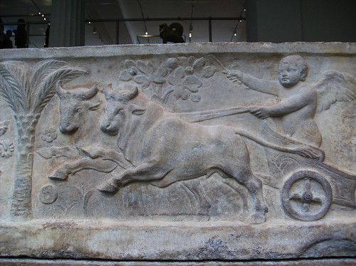 Roman Marble Sarcophagus with the Four Season Referenced in Relief (detail lid reliefs: Eros in chariot pulled by bulls[fall]) | by peterjr1961