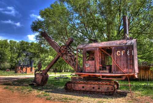 blue trees sky industry grass metal museum rust colorado iron mine industrial display steel machine rusty historic steam mining equipment dirt rusted coloradosprings hematite shovel hdr osgood cfi gleneagle photomatix 200806 anawesomeshot diamondclassphotographer flickrdiamond coloradofueliron westernmuseumofminingindustry
