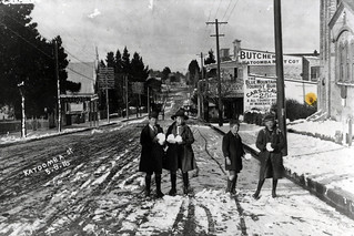 Boys playing in snow, Katoomba St.