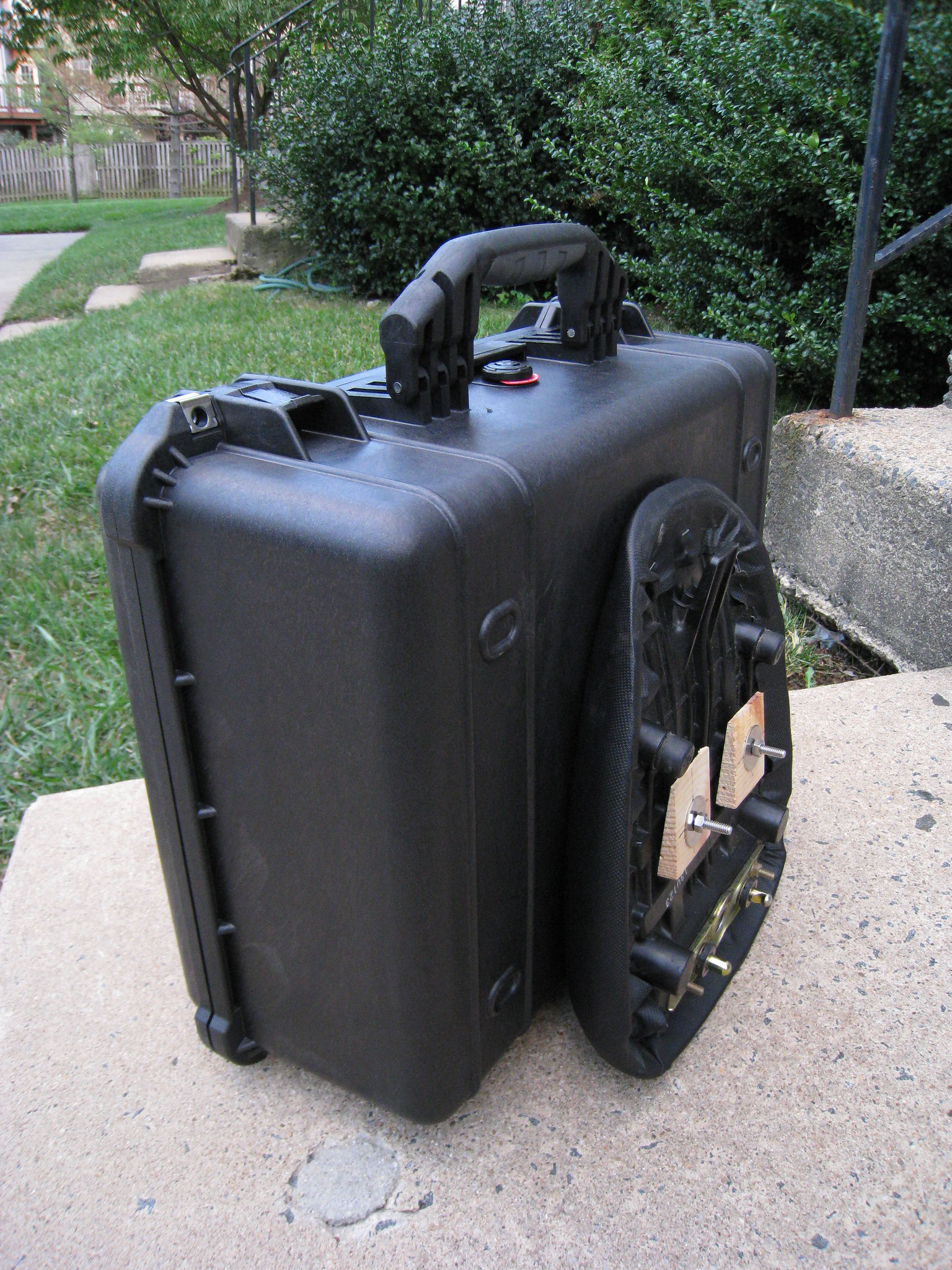 Pelican Case mounted to a passenger seat