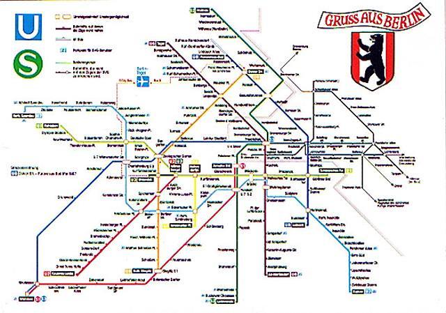 Berlin Us Bahn Map Postcard 1984 The Narrow Black Lines O Flickr - Berlin-us-bahn-map