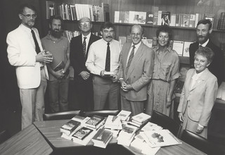 Dr Fred Walla, unidentified scholar, Professor Michael Carter, University Librarian Bill Linklater, [the Swiss Consul-General and his wife], Mick Fauchon, and Barbara Cook in the Rare Book Room, Level 4, Auchmuty Library, University of Newcastle,Australia | by UON Library,University of Newcastle, Australia