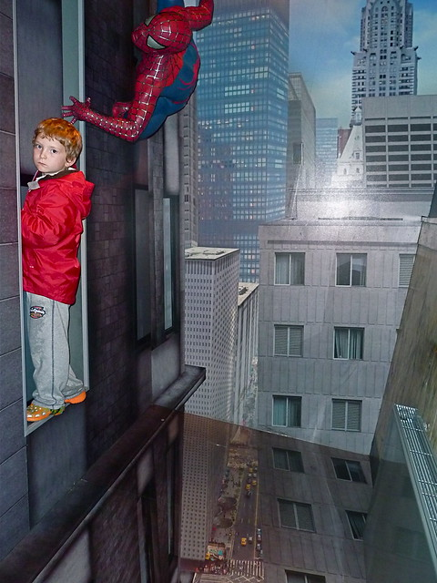 JD and Spiderman high up