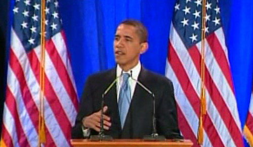 Obama, delivering the race speech | by scriptingnews
