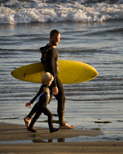 """Father and son surf lesson in Morro Bay, CA - image by Michael """"Mike"""" L. Baird 