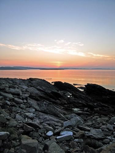 sunset sea scotland shore shetland whalsay