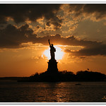 Sunset at  the Statue of Liberty Island