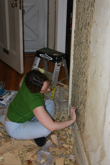 stripping the hall wallpaper