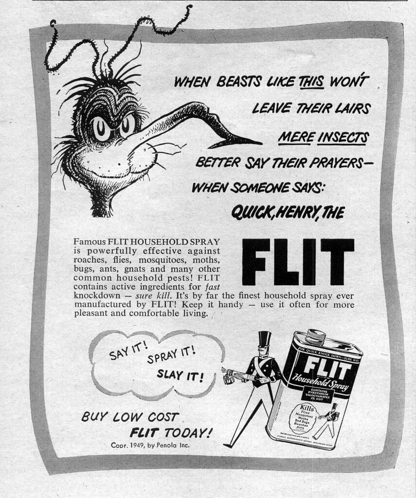 Flit Ad with Theodore Geisel artwork, 1949