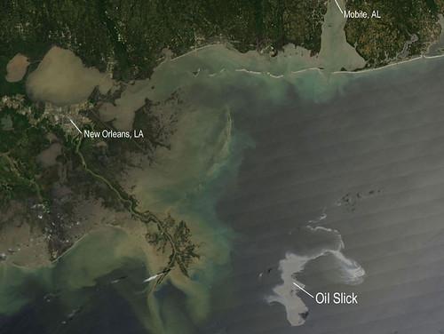 NASA MODIS Image of Oil Spill off US Gulf Coast