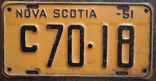 NOVA SCOTIA 1951 license plate