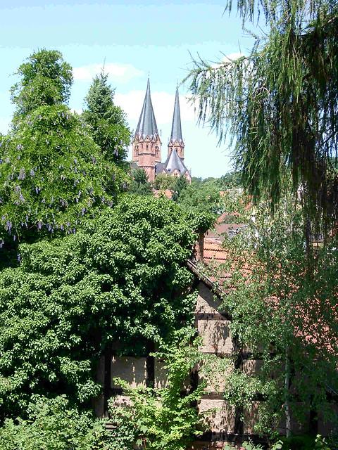 Blick von der Kaiserpfalz auf die Marienkirche