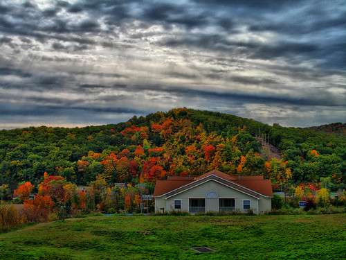 autumn red sky orange cloud color colour green fall college colors grass leaves yellow clouds photoshop campus leaf high dynamic state pennsylvania pa penn range hdr psu altoona