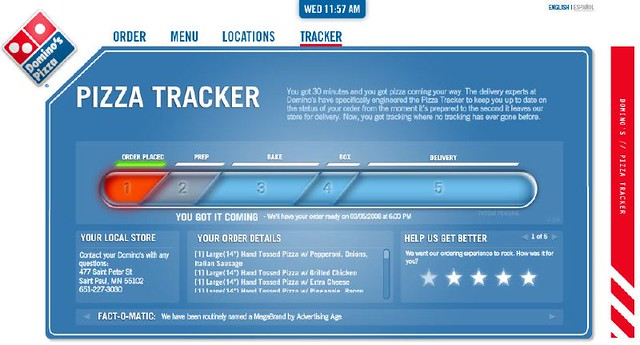 Dominos Pizza Tracker Dominos Has Developed Their Website Flickr