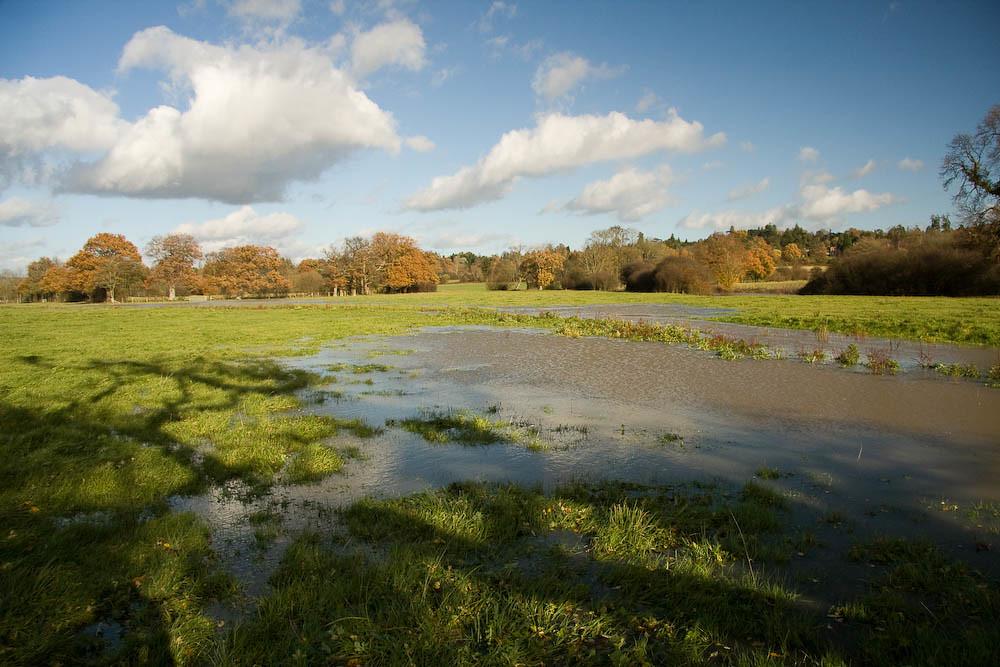 Flooded fields along side the River Eden