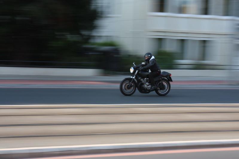 Motorrad in Bewegung