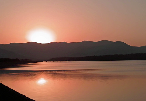 sunset sun mountain ny newyork water sundown reservoir watershed ashokan catskill