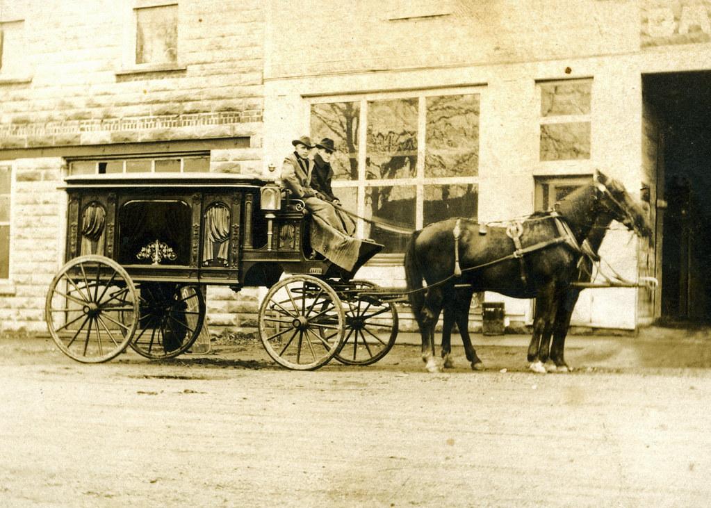 Tommy Weir and Horse-drawn Hearse, Prairie Creek
