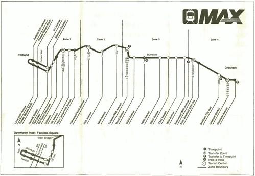 MAX Light Rail map, 1986