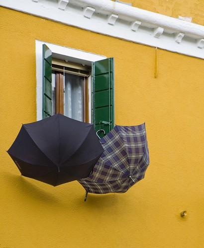 umbrellas at yellow house   by rockmixer